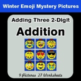 Adding Three 2-Digit Addition - Color-By-Number Winter Math Mystery Pictures