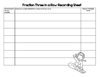Winter Math-Adding and Subtracting Fractions Three in a Row