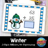 Winter Math Boom Cards | Snowman 2 Digit No Regrouping Addition