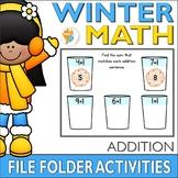 Winter Math Addition File Folder Activites Addends 0-10