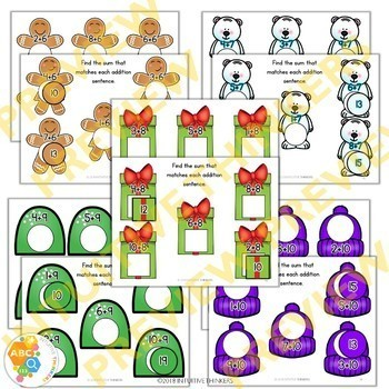 Winter Math Addition File Folder Activites Addends 0-10