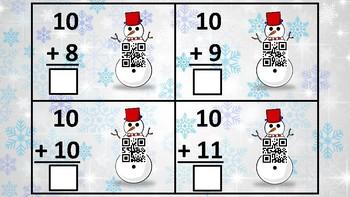 Winter Math Addition QR Codes (10s)