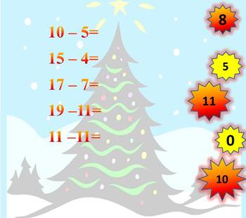 Winter Math - Addition - Subtraction - Interactive PowerPoint