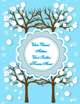 Winter Themed First Grade Math Addition Word Problems Worksheets with Pictures :