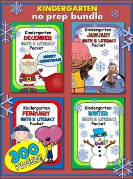 Winter Bundle Math And Literacy Printables - Kindergarten