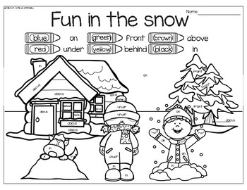 Winter Math Around the Room: Positional Words
