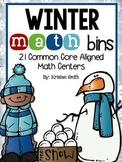 Winter Math Bins- 21 Common Core Aligned Math Centers