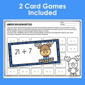 Winter Math Card Games Multiplication and Division