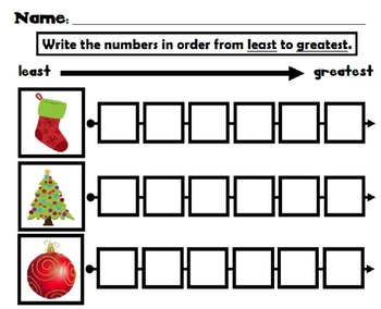 Winter Math Center Least to Greatest 0 - 20