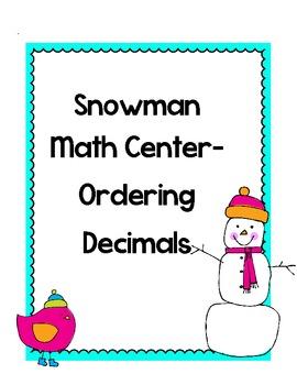 Winter Math Center-Ordering Decimals
