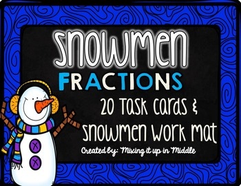 Winter Math Center:  Snowmen Fractions WORD PROBLEM Task Cards