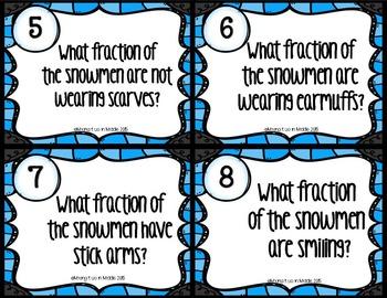 Winter Math Center:  Snowmen Fractions WORD PROBLEM Task Cards
