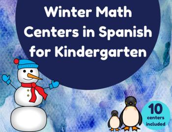 Winter Math Centers in Spanish for Kindergarten (Centros de mate invierno)