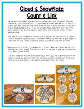 Winter Math Centers: 1-1 Correspondence & Counting for Preschool, PreK & K