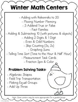 Winter Math Centers for First Grade