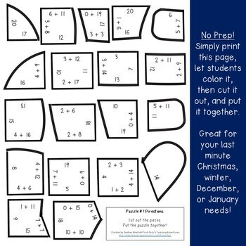 ADDITION Winter Math Centers Puzzles | The Mitten Activities or Games