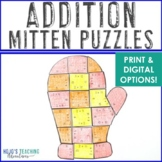 ADDITION Winter Math Center Puzzles | The Mitten Activitie
