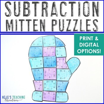 Winter Math Centers: Subtraction Mitten Puzzles