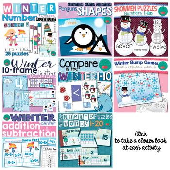Winter Math Centers for Kindergarten Bundle