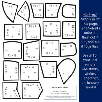 Winter Math Centers: Division Mitten Puzzles | Christmas Math Centers