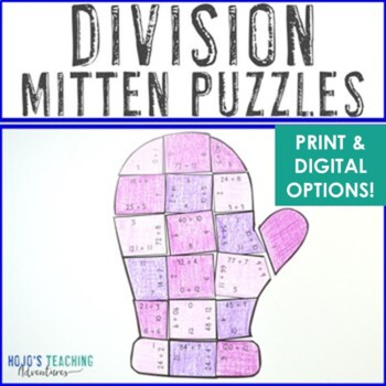 DIVISION Winter Math Center Puzzles | Great for January Activities or Games