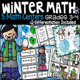 Differentiated Winter Math Centers Bundle Grades 3-4