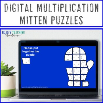 Winter Math Game Puzzles   MULTIPLICATION Mitten Match Activities or Centers