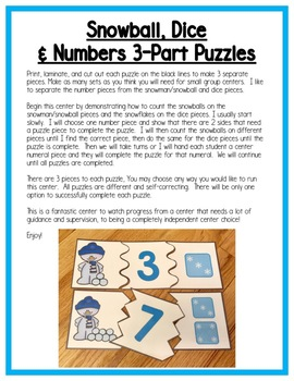 Winter Math Centers:  Number Sense for Preschool, PreK, K, & Homeschool