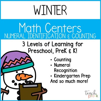 Winter Math Centers: Numeral Identification for Preschool, PreK, K & Homeschool