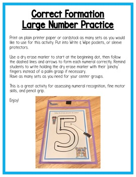 Winter Math Centers:  Numeral Writing for Preschool, PreK, K & Homeschool