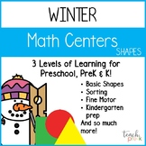 Winter Math Centers:  Shapes for Preschool, PreK, K & Homeschool