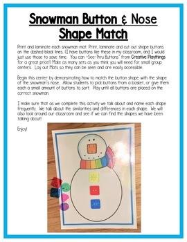 Winter Math Centers:  Shapes for Preschool, PreK, K & Homeschool
