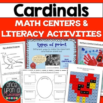 Winter Math Centers & Literacy Activities - Cardinal Theme