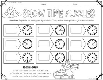 Winter Math Centers for 1st & 2nd Grade