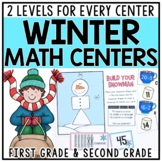 Winter Differentiated Math Centers for 1st & 2nd Grade