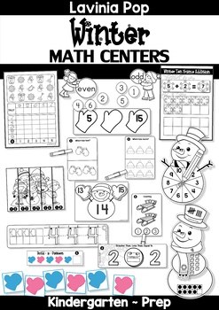 Winter Math Centers for Kindergarten B&W