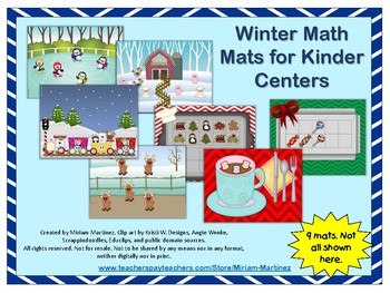 Winter Math Centers for Kindergarten using thinking mats.