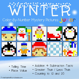 Winter Math Mystery Pictures with Addition Subtraction Coloring Worksheet etc