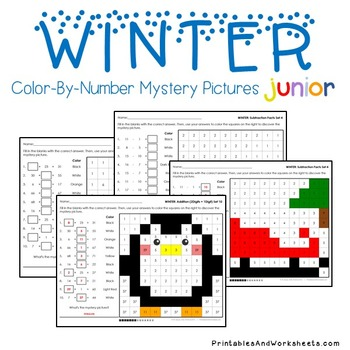 Math Winter Activities, Winter Sub Plan Mystery Picture Worksheets