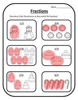 Winter Math Color Fractions Christmas Math Christmas Activities Math Activities