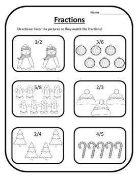 Winter Math Color Fractions Christmas Math Christmas Activ