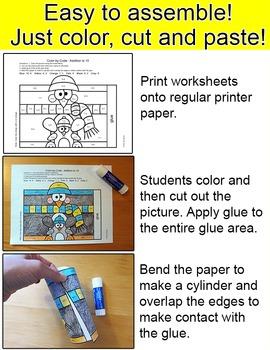 Winter Math Color by Code Penguin, Polar Bear, Snowman, Owl - January Activities