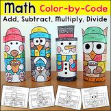 Winter Math Color by Number Penguin, Polar Bear, Snowman - January Activities