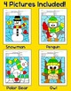 Winter Math Activities Color by Number: Penguin, Snowman,