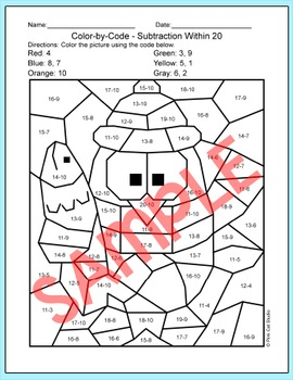 Winter Math Penguin Color by Code Activity - Winter Activities
