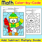 Winter Math Penguin Coloring Page - Add, Subtract, Multiply or Divide