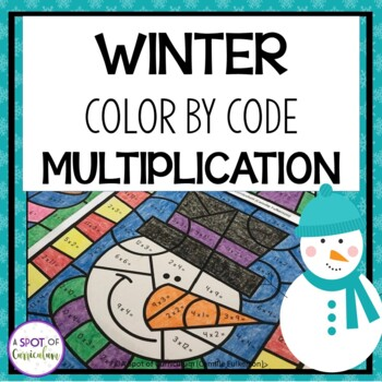 Winter Math Color by Number Multiplication by A Spot of Curriculum