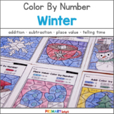 Winter Math: Color by Number with Addition, Subtraction, Place Value & More