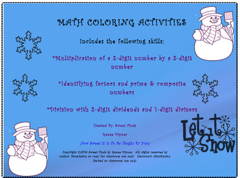 Winter Math Coloring Activities 4th Grade