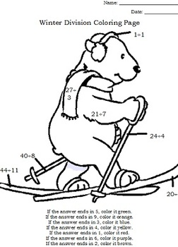 Winter Math Coloring Page Worksheets